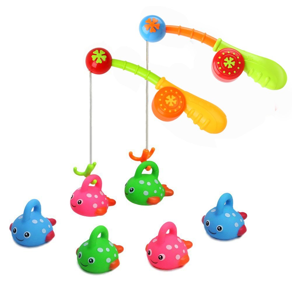 Bath Toys Fishing Floating Spotted Fish(6 Pieces) Toy and Fishing Rod(2 Rods) Best Bathroom for Toddlers Boys Girls Kids Fun time 2 Sets