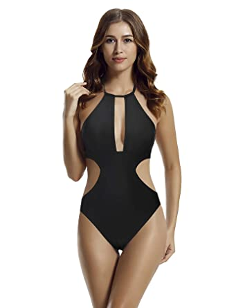 236aee31f3e zeraca Women's High Neck Plunge Cut Out One Piece Swimsuit Bathing Suit  (Black, Large