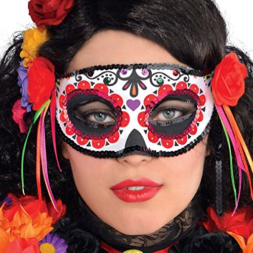 Amscan Day of the Dead Masquerade Mask Halloween Costume Accessory for Women, One ()