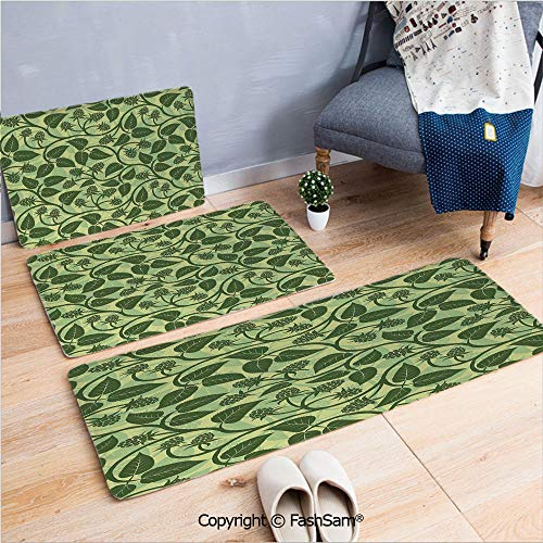 FashSam 3 Piece Non Slip Flannel Door Mat Raspberry Leaves Mediterranean Garden Style Growth Season Nature Theme Decorative Indoor Carpet for Bath Kitchen(W15.7xL23.6 by W19.6xL31.5 by W31.4xL47.2) ()