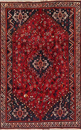 Shiraz Persian Tribal Nomad Oriental Area Rug Wool Geometric Handmade 5X8 Medallion Red - Persian Rugs Shiraz