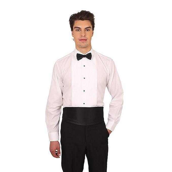dfa1e688dc7148 Men's White Laydown Collar 1/4 in. Pleat Tuxedo Shirt and Bow Tie ...