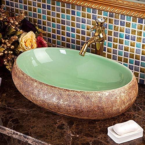 洗面ボール レトロバスルームアーティスティック容器シンクオーバル上記カウンターアート盆地洗面用トイレ洗面化粧台のキャビネット 洗面器 (Color : Green, Size : 60x40x15cm)