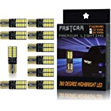 FASTCAR T10 W5W CANBUSキャンセラー内蔵LED DC12V 4014SMD 24連 無極性ポジション ナンバー灯 ホワイト 両面発光 10個セット 1年保証