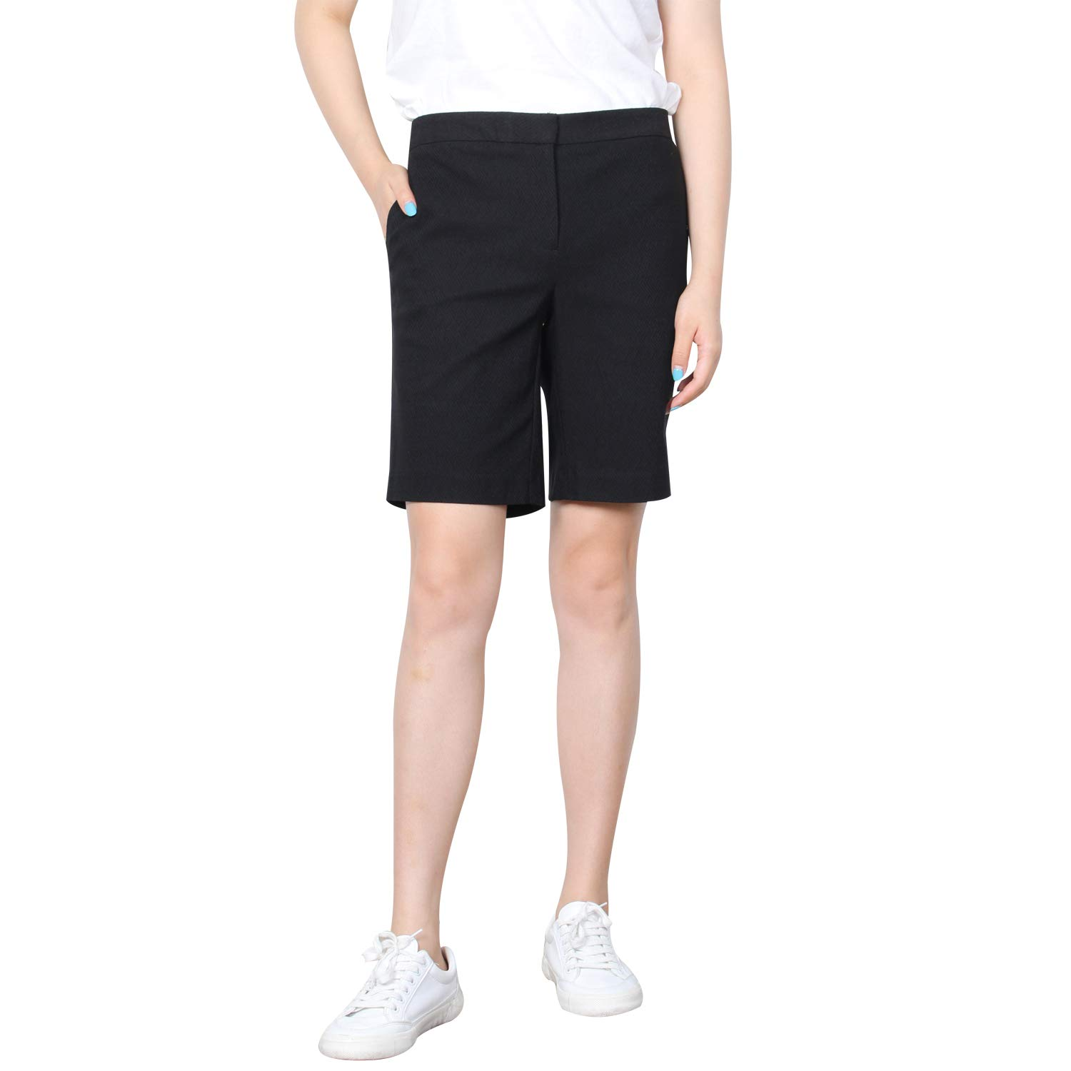 KELLY KLARK Women's Solid Casual Shorts, 9'' Inseam Soft Chino Shorts, Black, 18 by KELLY KLARK