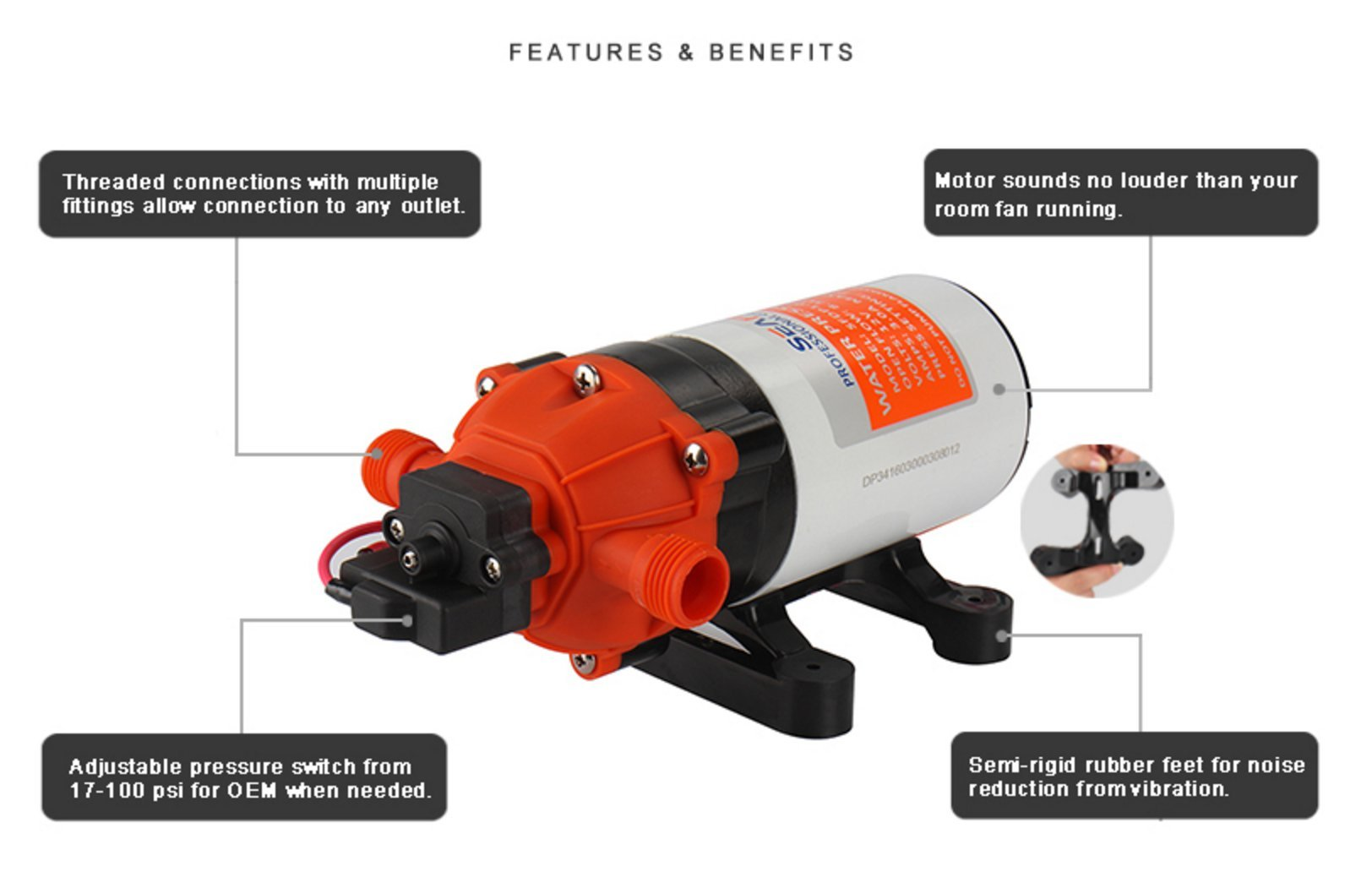 SEAFLO 12V 1.6 GPM 100 PSI 34-Series Water Pressure Diaphragm Pump by Seaflo (Image #5)