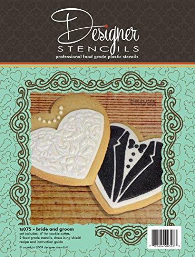 Bride Groom Cookies - Bride & Groom Cookie Cutter & Stencil Set by Designer Stencils
