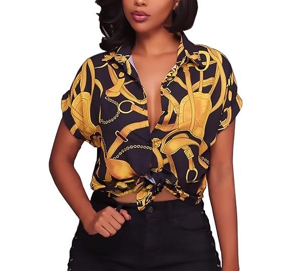 Camisas Mujer Elegantes Manga Corta Cuello Solapa Un Solo Pecho Moda Vintage Hippie Estampadas Blusas Verano Camisa Camiseta Tops: Amazon.es: Ropa y ...