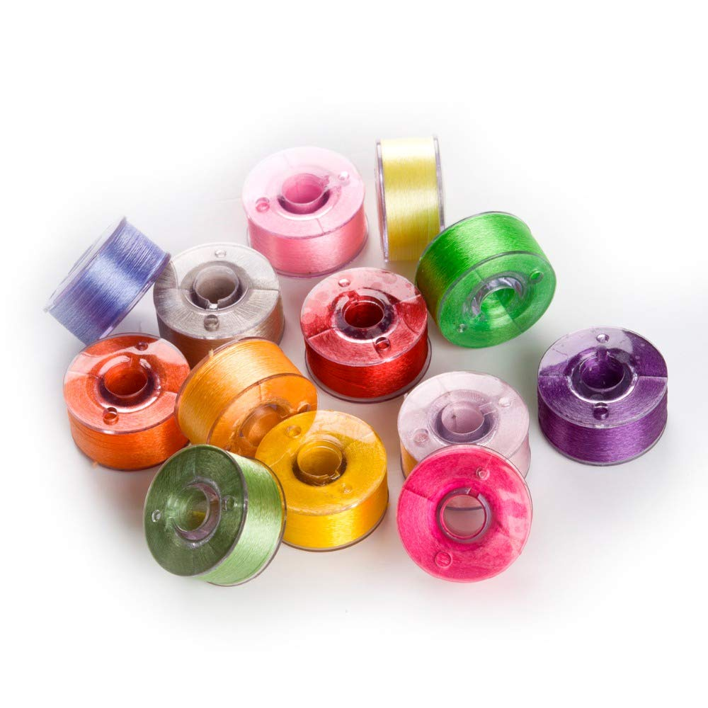 Bobbin Embroidery Thread - 25 Bobbins Size 15 Machine Embroidery Thread for Brother/Babylock/Janome/Etc Machines by Ganos by Ganos
