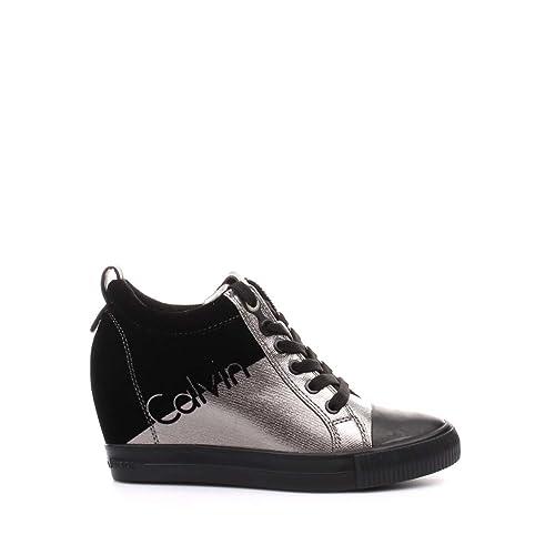 Calvin Klein Jeans R0646 Sneakers Donna Nero argento 37  Amazon.it ... 1e4a7f5e756