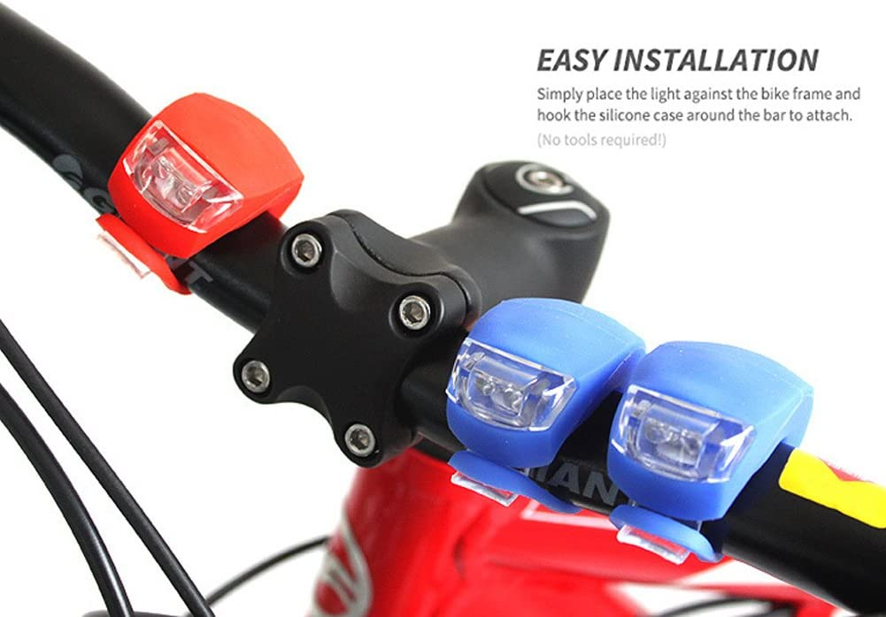 2Pcs Silicone Bicycle Bike Cycle Safety LED Head Front /& Rear Tail Light Set XS