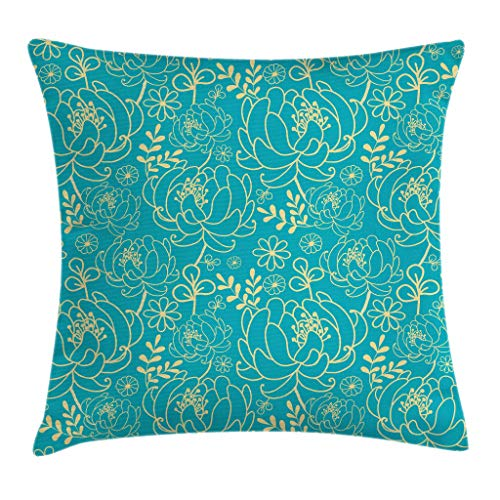 Ambesonne Yellow and Blue Throw Pillow Cushion Cover, Classic Floral Twig Leaves Blooms Petals Essence Flowers Design, Decorative Square Accent Pillow Case, 18 X 18 Inches, Turquoise Pale Yellow ()