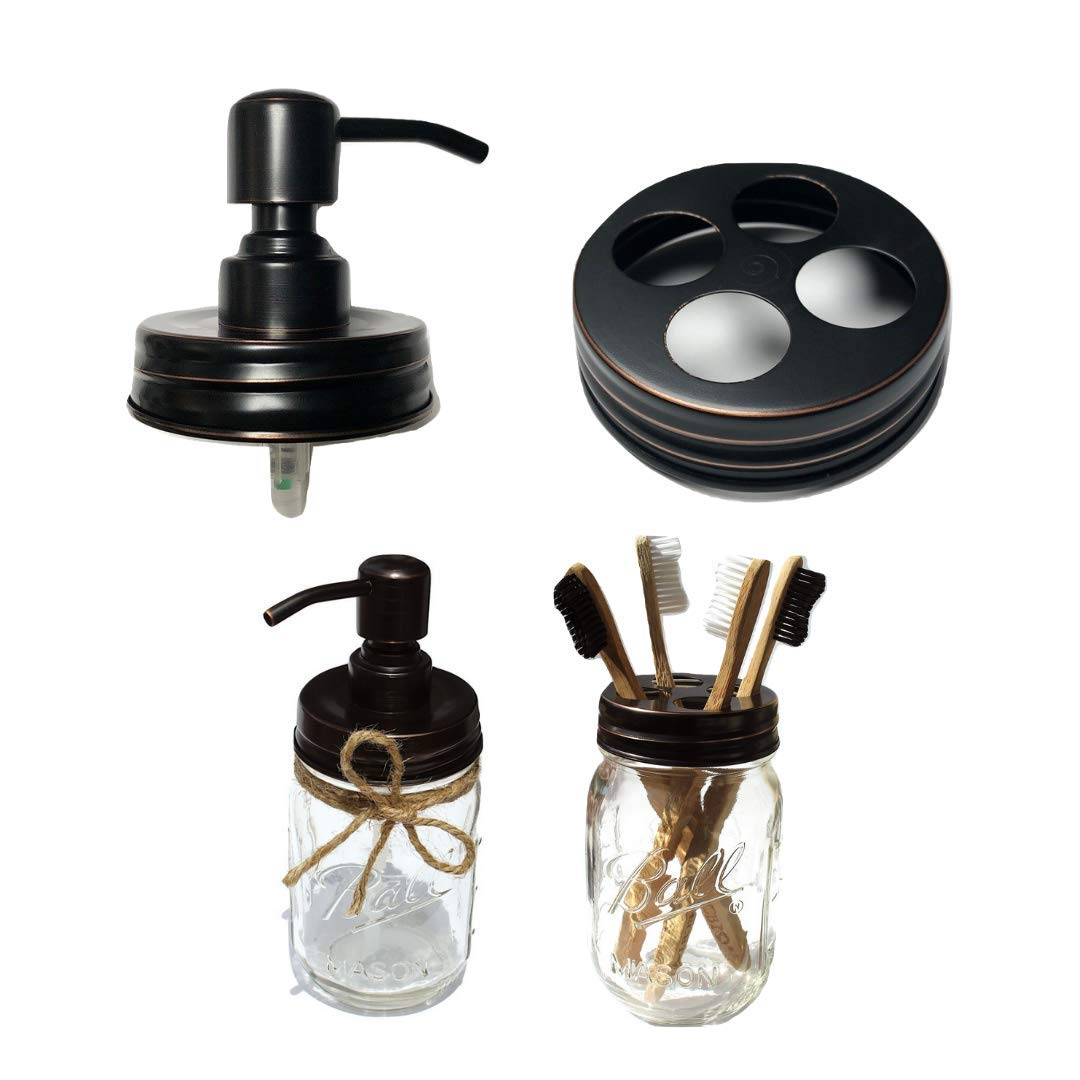The Southern Jarring Co. Bathroom Accessories Lid Set - Includes Mason Jar Hand Soap Dispenser Lid and Toothbrush Holder Lid - Rustic Farmhouse Bathroom Lid Set - (Jars not Included)