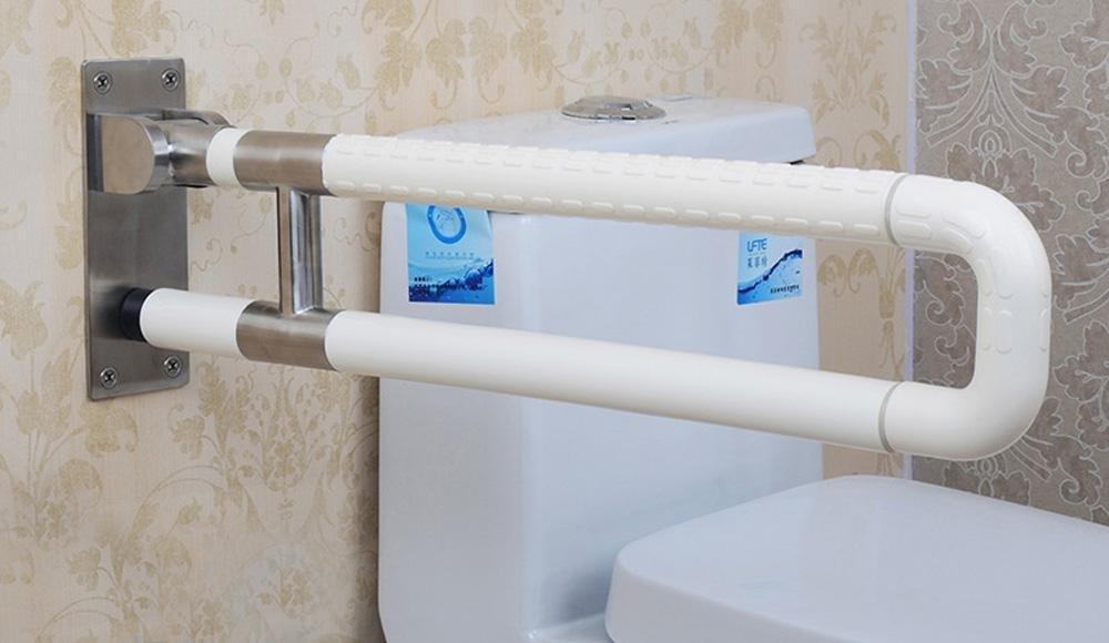 KHSKX Corrimano di nylon di barriere anti-batteri, corrimano per disabili per gli anziani, doccia WC bagno in acciaio inox pieghevole bracciolo , Yellow