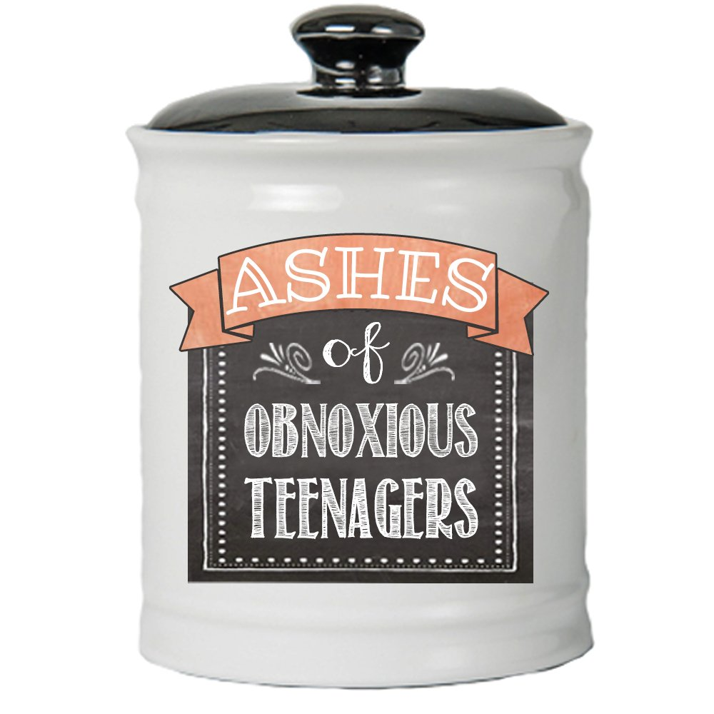 Cottage Creek Funny Parent Gifts Round Ceramic Ashes of Problem Teenagers Jar/Fun Mom Gifts Fun Dad Gifts Mom and Dad Gifts Best Parent Gifts [White] by Cottage Creek