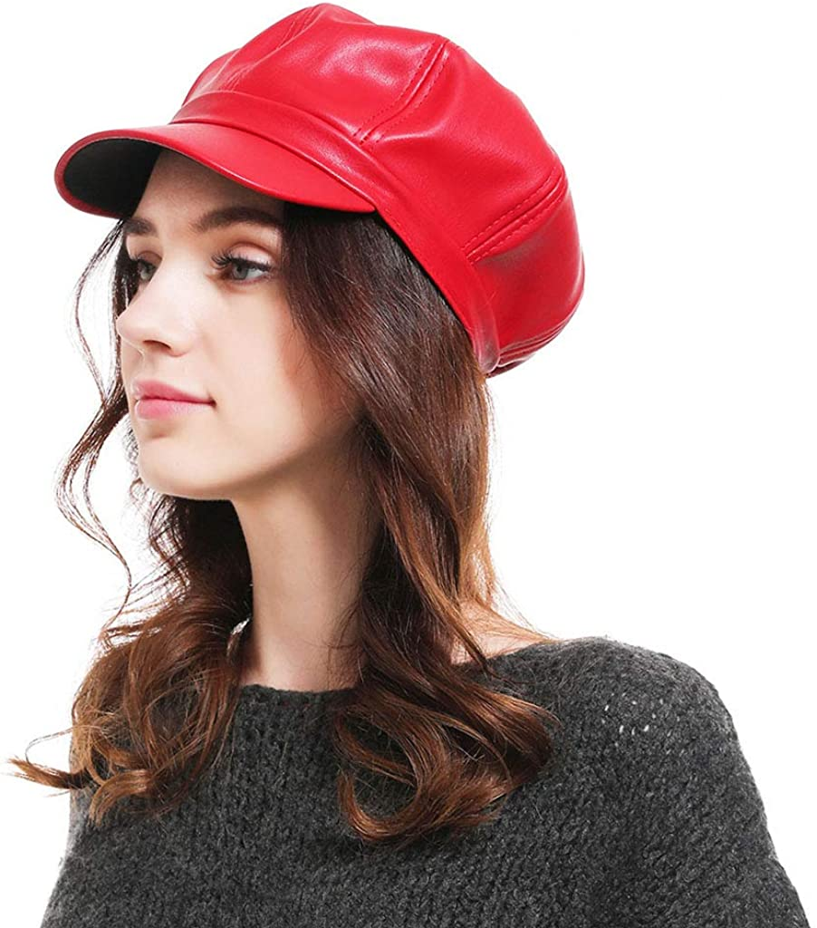 Women Newsboy Hat Pu Solid...