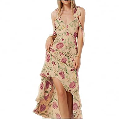 Floral Print Spaghetti Strap A-line Dress Plunge Neck Cut Out Backless Vestidos Loose Bohemian