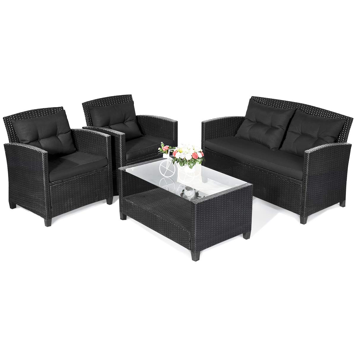 Black Tempered Glass Top Table with Storage Outdoor Rattan Sectional Sofa Set Comfortable Thick Cushioned Loveseat /& 2 Chairs Garden Lawn Wicker Patio Set Tangkula 4 PCS Patio Conversation Set