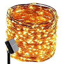 Solar String Lights,ER CHEN(TM) 8 Lighting Modes 500 LEDs / 165 Ft Solar Powered Starry String Lights,Copper Wire Waterproof Rope Lights Ambiance Lighting for Gardens,Patios,Parties,etc.(Warm White)