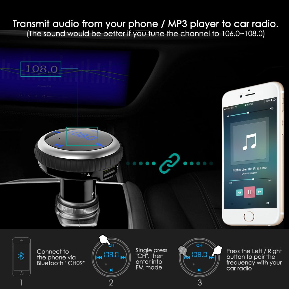 Black Wireless Audio MP3 Player Radio Adapter Receiver Hands-Free Car Kit with Dual Port USB Car Charger /& LED Display Smart Car Locator CHGeek Bluetooth 4.2 FM Transmitter 5V//2.1A CH09
