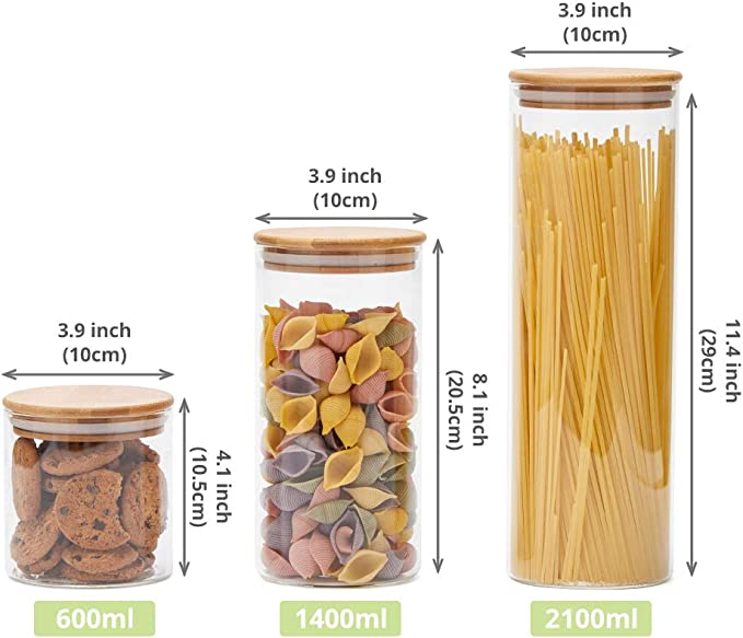 Vetro Borosilicato Misto Contenitori per la Conservazione Alimenti con Coperchio di Legno Bamb/ù Ermetico per T/è Caff/è Farina Cereali Fagioli EZOWare Set di 6 Barattoli di Vetro