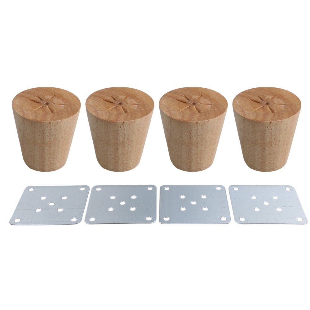 RDEXP Oak Wood Reliable 58x60x38mm Wood Furniture Leg Cone Shaped Wooden Feets for Cabinets Soft Table Set of 4 RDEXPAM
