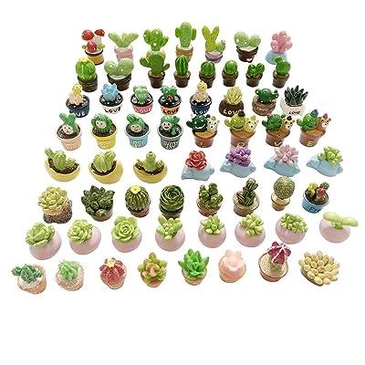 SIX VANKA Miniature Potted Plants Resin Decoration 30pcs Random Set for Doll House Pretend Play Toys DIY Mini Home Garden Flowerpot Succulent Planter: Toys & Games