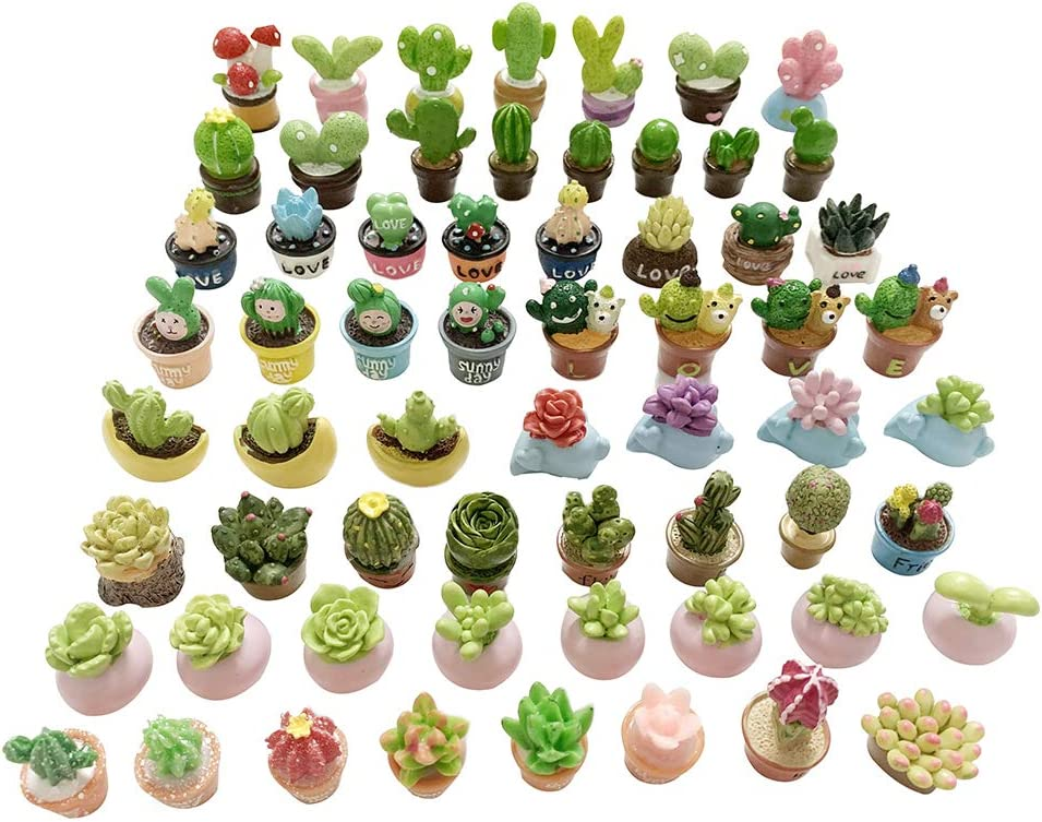 SIX VANKA Miniature Potted Plants Resin Decoration 30pcs Random Set for Doll House Pretend Play Toys DIY Mini Home Garden Flowerpot Succulent Planter