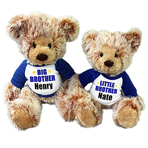 Personalized Big Brother / Little Brother Teddy Bears - Set of 2 Caramel (Little Brother Teddy Bear)