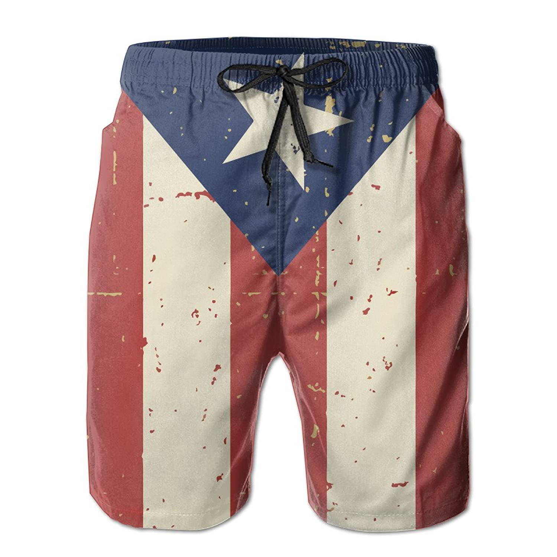Puerto Rican Flag Mens Swim Trunks Beach Sufing Swim Quick Dry Shorts