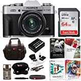 Fujifilm X-T20 Digital Camera with 15-45mm Lens (Silver) + Photo/Video Editing Software, Sandisk 64gb Memory Card & Focus Camera Essentials Bundle