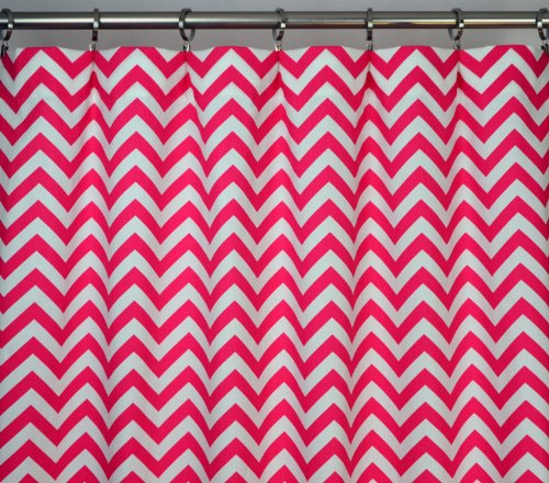 Candy Pink and White Chevron Zig Zag Drape, One Rod Pocket Curtain Panel 84 inches long x 50 inches wide