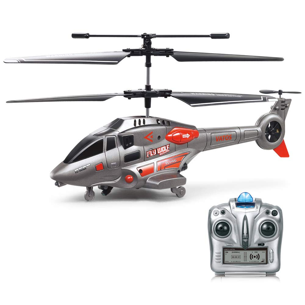 RC Helicopter, VATOS Remote Control Helicopter with Gyro and LED Light  3 5HZ Channel Alloy Mini Military Series Helicopter for Kids & Adult Indoor