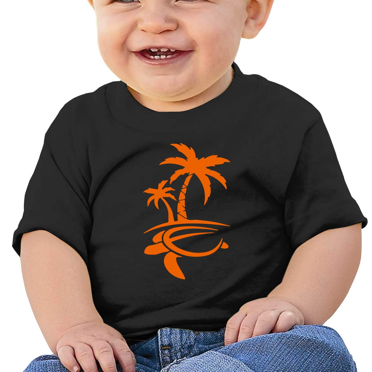 Hawaiian Palm Tree and Sea Turtle Baby Boy Girl Newborn Short Sleeve T-Shirt 6-24 Month Cotton Tops