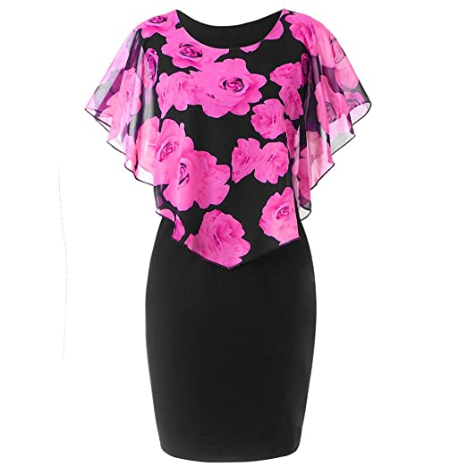 9e3341ba757 Quealent Fashion Elegant Women Dress Casual Plus Size 5XL Rose Print  Chiffon O-Neck Ruffles