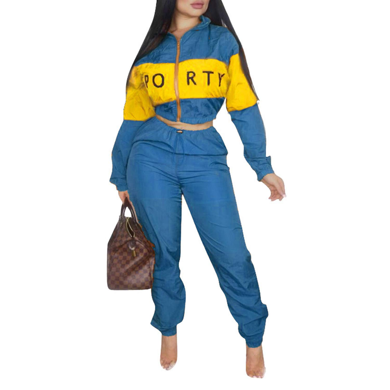Casual Sweatsuit Crop Tops Long Sleeves Jacket High Waisted Pants Letter Blue XL by Sherro