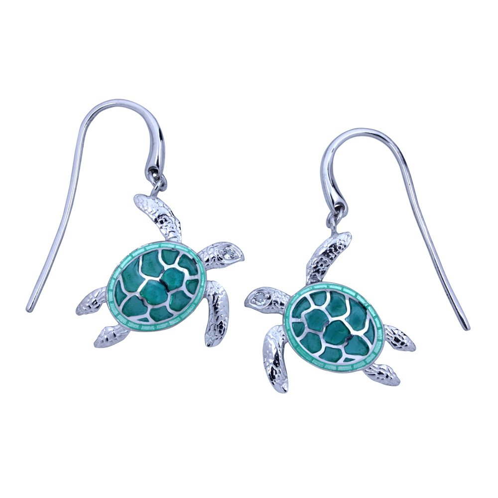 Guy Harvey Enameled Sea Turtle Earrings Crafted in Sterling Silver by Guy Harvey Jewelry