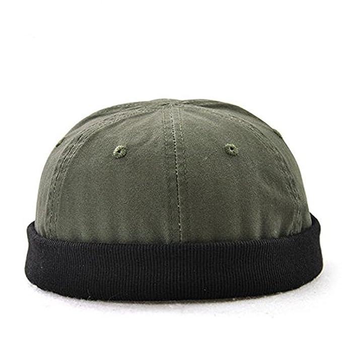 KANWEI Men Solid Adjustable Warm Skullcap Sailor Cap Rolled Cuff Retro  Brimless Hat (Army Green fff047454d8