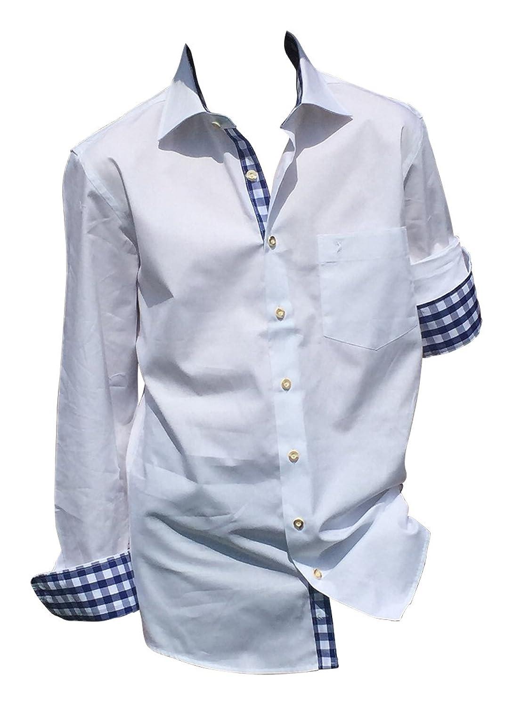 Trachtenhemden Weiß-Blau 100% Baumwolle Hemden Herren Freizeit Business