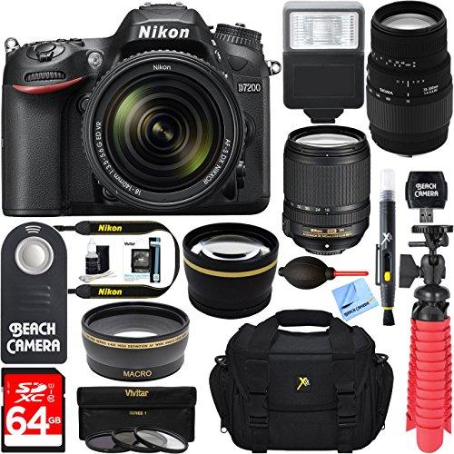 Nikon D7200 Black Digital SLR Camera with 18-140mm VR & 70-300mm f/4-5.6 SLD DG Macro Telephoto Lens + Accessory Bundle