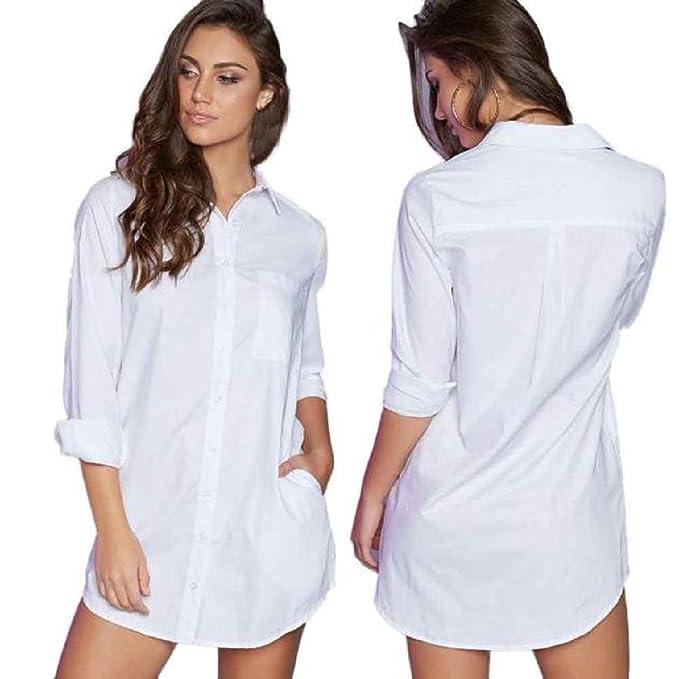 3eb650549bca Sunward(TM) Feminine Fashion Shirt Sexy Long Sleeve Straight Office Dresses  (Small,
