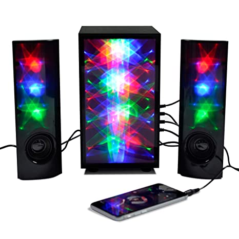 3D Colorful LED Stereo Speakers Light Show Bookshelf Speaker With 4 Inch Woofer Subwoof Audio