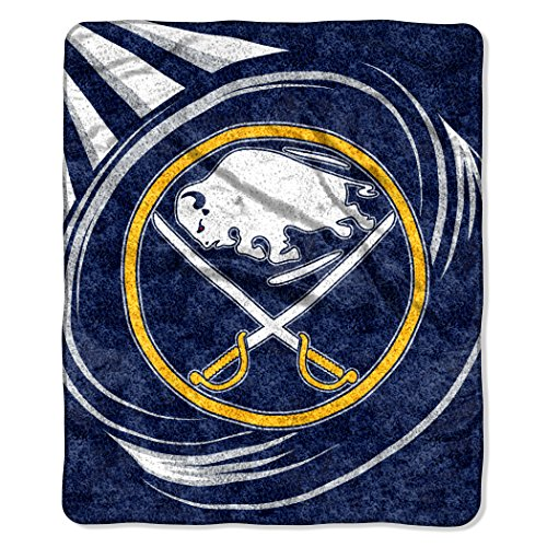 NHL Buffalo Sabres Puck Sherpa Throw Blanket, Navy Blue, 50""