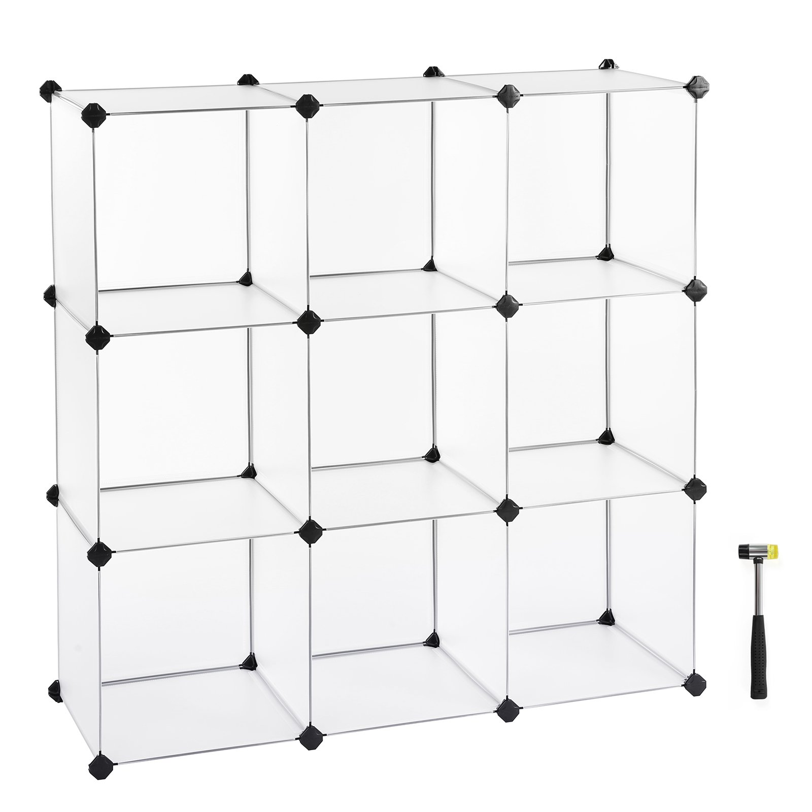 SONGMICS Cube Storage, DIY Plastic Cube Organizer Units, Modular Closet Cabinet for Clothes, Shoes, Toys, Book for Bedroom, Living Room, Office, White 9-Cube ULPC33W