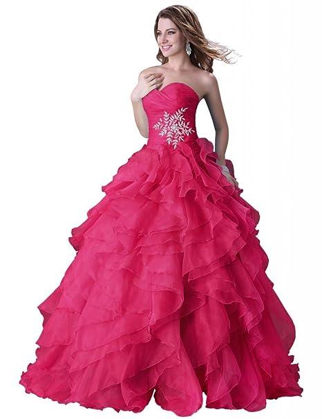 Yafex - Vestido de novia - corte imperio - Sin mangas - Mujer Rosa De Color