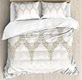 Is Eastern King the Same As King King Size Moroccan 3 PCS Duvet Cover Set, Ornate Background with Traditional Soft Color Eastern Elements and Pattern, Bedding Set Quilt Bedspread for Children/Teens/Adults/Kids, Umber Camel White