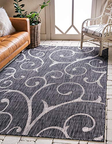 Unique Loom Outdoor Botanical Collection Vine Floral Transitional Indoor and Outdoor Flatweave Charcoal Gray Area Rug (7' x 10') -