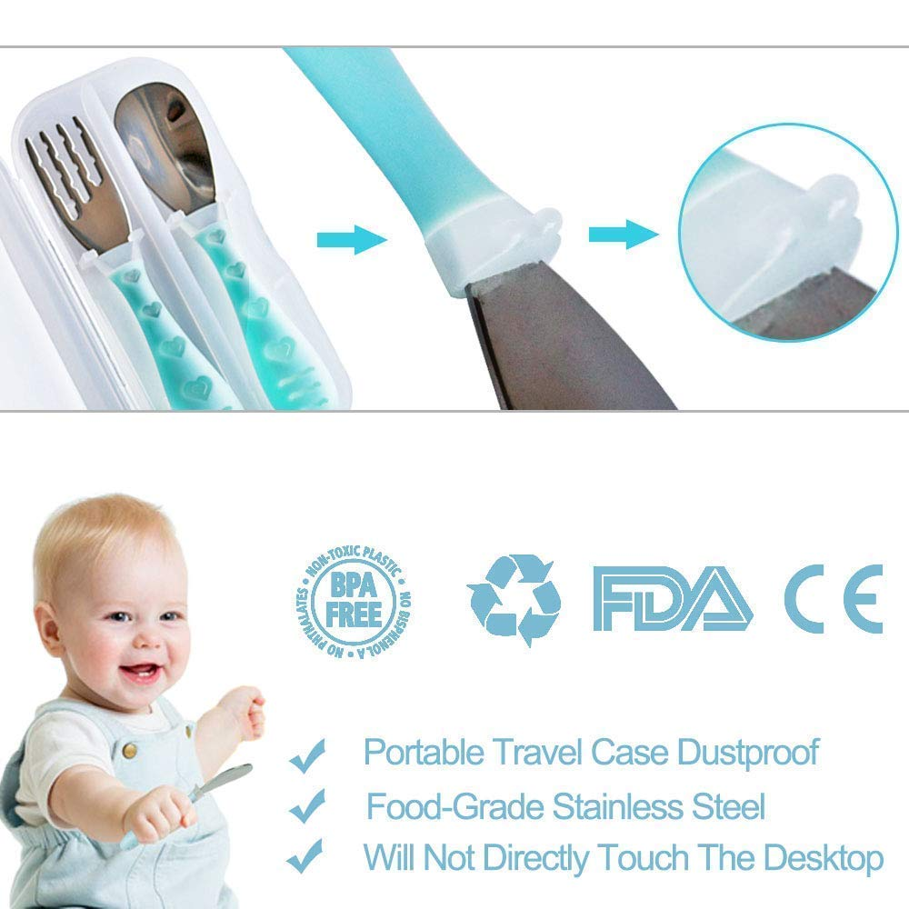 Toddler Stainless Steel Forks and Spoons -Toddler Utensils - Toddler Silverware Set with Travel Carrying Case fits Baby ; Kids- 2 Set by Timoch