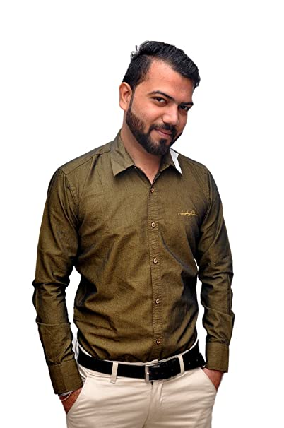 MEHNDI COLOR PLAIN SHIRT FOR MEN Amazon.in Clothing
