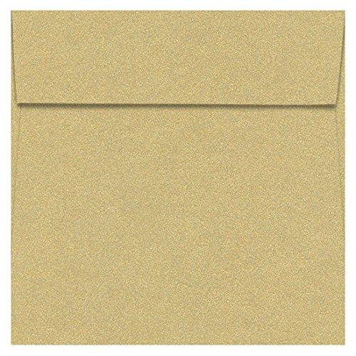 - 6 1/2 Square Curious Metallics Gold Leaf Envelopes - Square Flap, 80T, 25 Pack